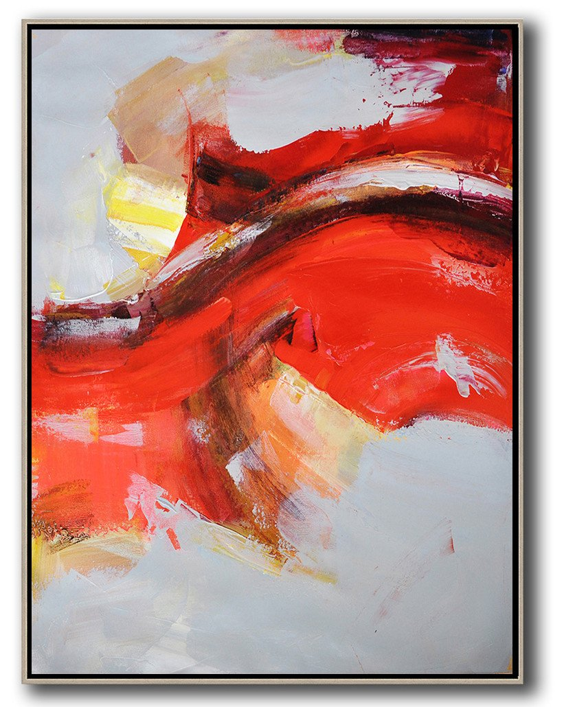Original Painting Hand Made Large Abstract Art,Vertical Palette Knife Contemporary Art,Xl Large Canvas Art,Grey,Red,Yellow.etc