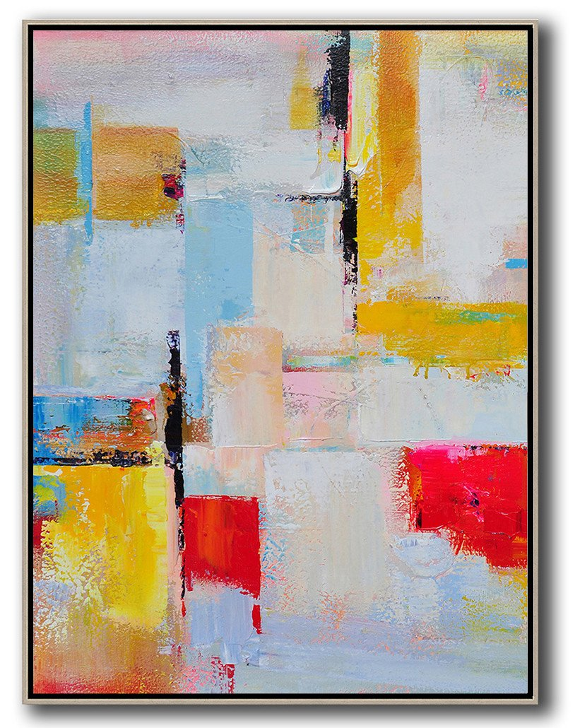 Handmade Large Contemporary Art,Vertical Palette Knife Contemporary Art,Xl Large Canvas Art,Pink,Red,Yellow,Grey,Sky Blue.etc