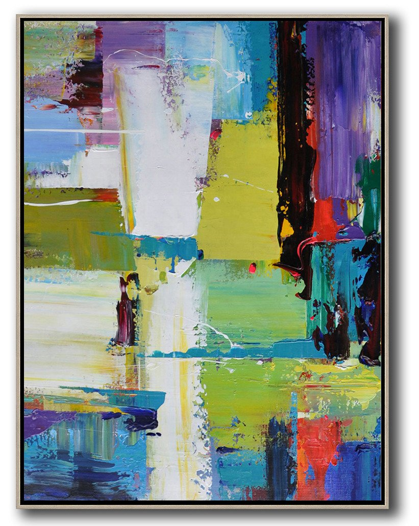 Extra Large Canvas Art,Vertical Palette Knife Contemporary Art,Abstract Art Decor,Contemporary Painting,Purple,Yellow,Grass Green,Black,Red.etc
