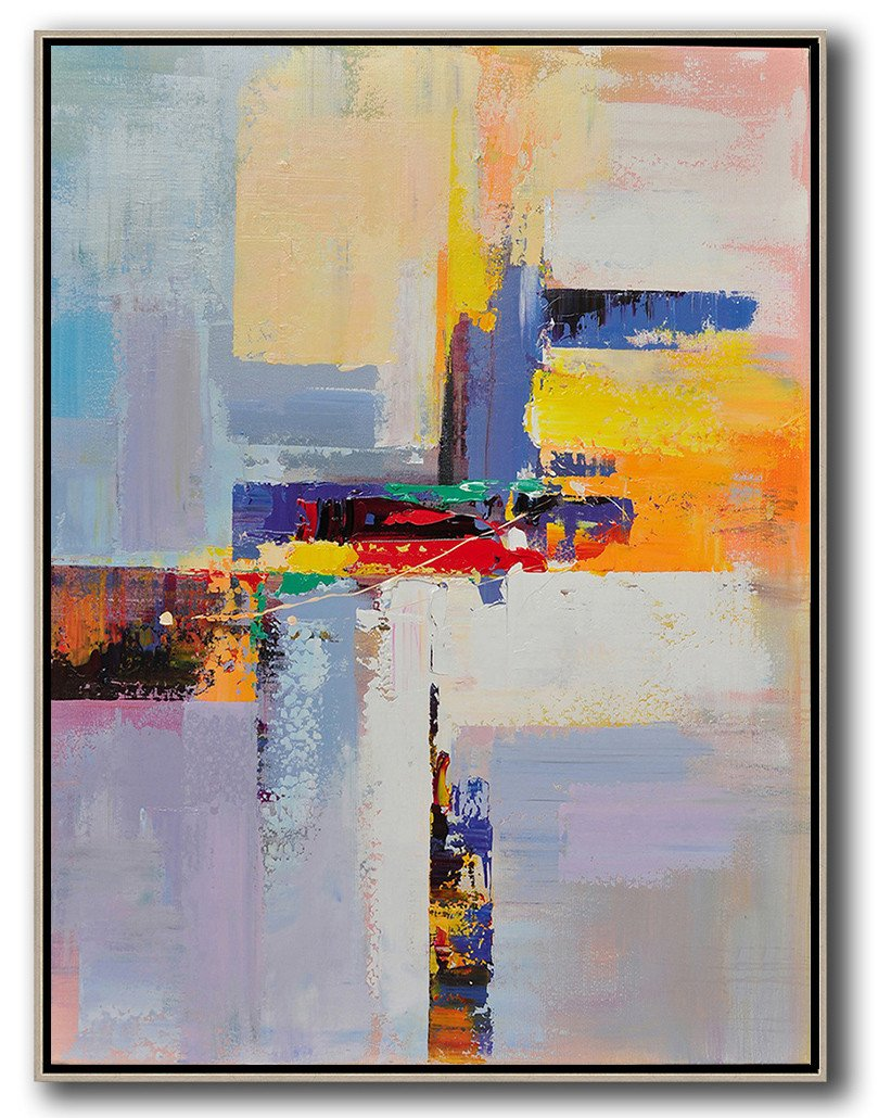Abstract Painting Extra Large Canvas Art,Vertical Palette Knife Contemporary Art,Extra Large Artwork,Yellow,White,Red,Purple.etc