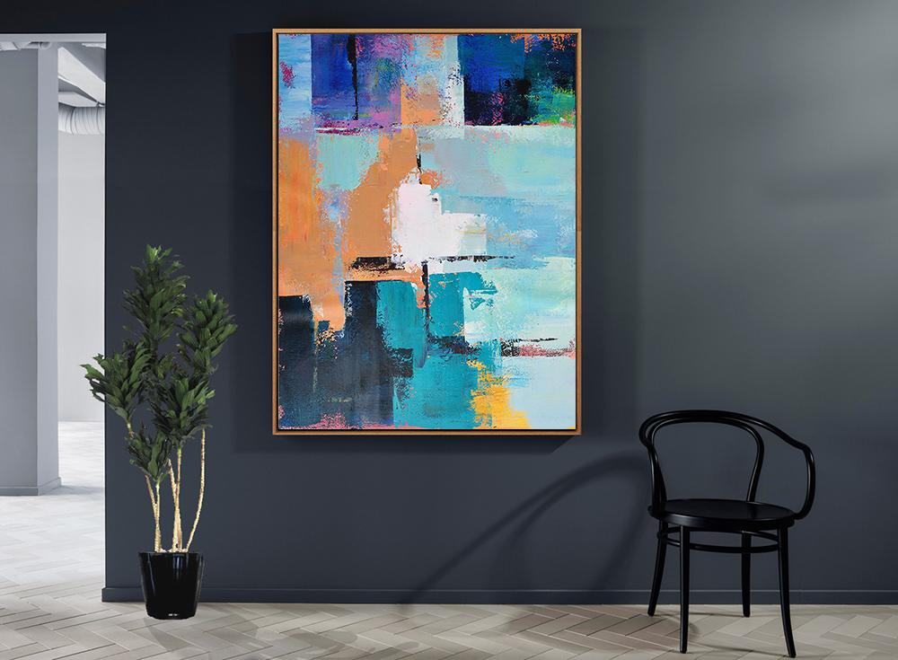 Abstract Painting Extra Large Canvas Art,Vertical Palette Knife Contemporary Art,Original Art Acrylic Painting,White,Earthy Yellow,Blue,Black,Lake Blue.etc