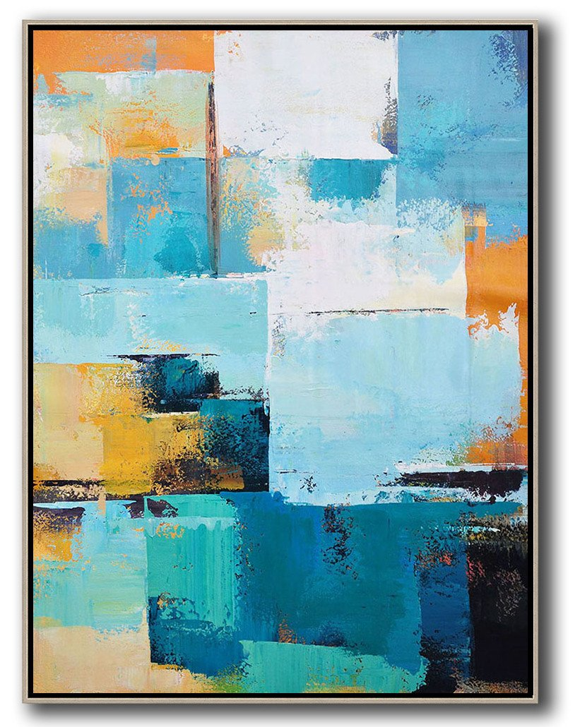 Extra Large Canvas Art,Vertical Palette Knife Contemporary Art,Modern Art Abstract Painting,White,Blue,Orange,Yellow.etc