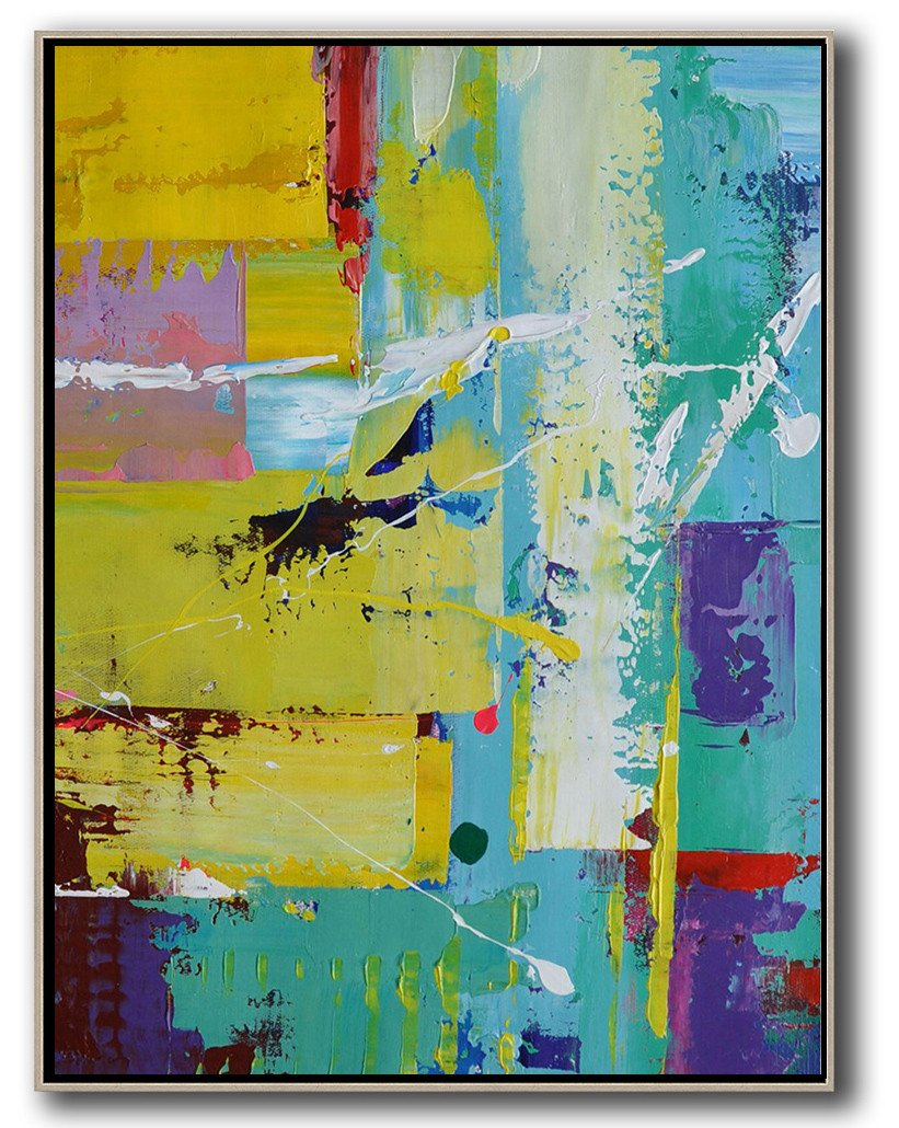 Large Abstract Painting On Canvas,Vertical Palette Knife Contemporary Art,Canvas Wall Art Home Decor,Sky Blue,Yellow,Purple,Red.etc