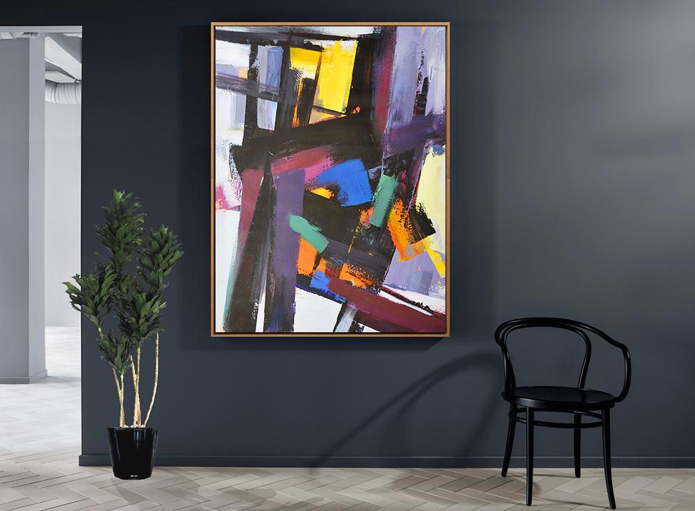 Large Contemporary Art Acrylic Painting,Vertical Palette Knife Contemporary Art,Acrylic Painting Canvas Art,Black,Purple,Pink,Blue,Yellow,Brown.etc