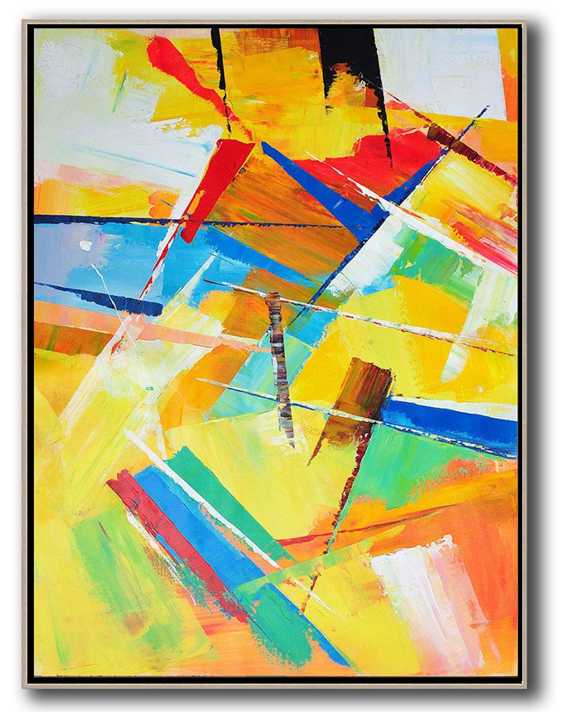 Hand Made Abstract Art,Vertical Palette Knife Contemporary Art,Abstract Art On Canvas, Modern Art,Yellow,Red,Blue,White.etc