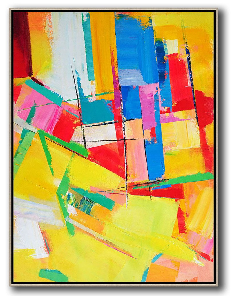 Original Artwork Extra Large Abstract Painting,Vertical Palette Knife Contemporary Art,Hand Made Original Art,Yellow,Red,Blue,Purple.etc