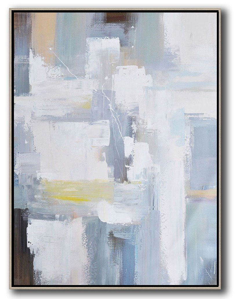 Large Abstract Art,Vertical Palette Knife Contemporary Art,Hand Painted Acrylic Painting,White,Grey,Brown,Yellow.etc
