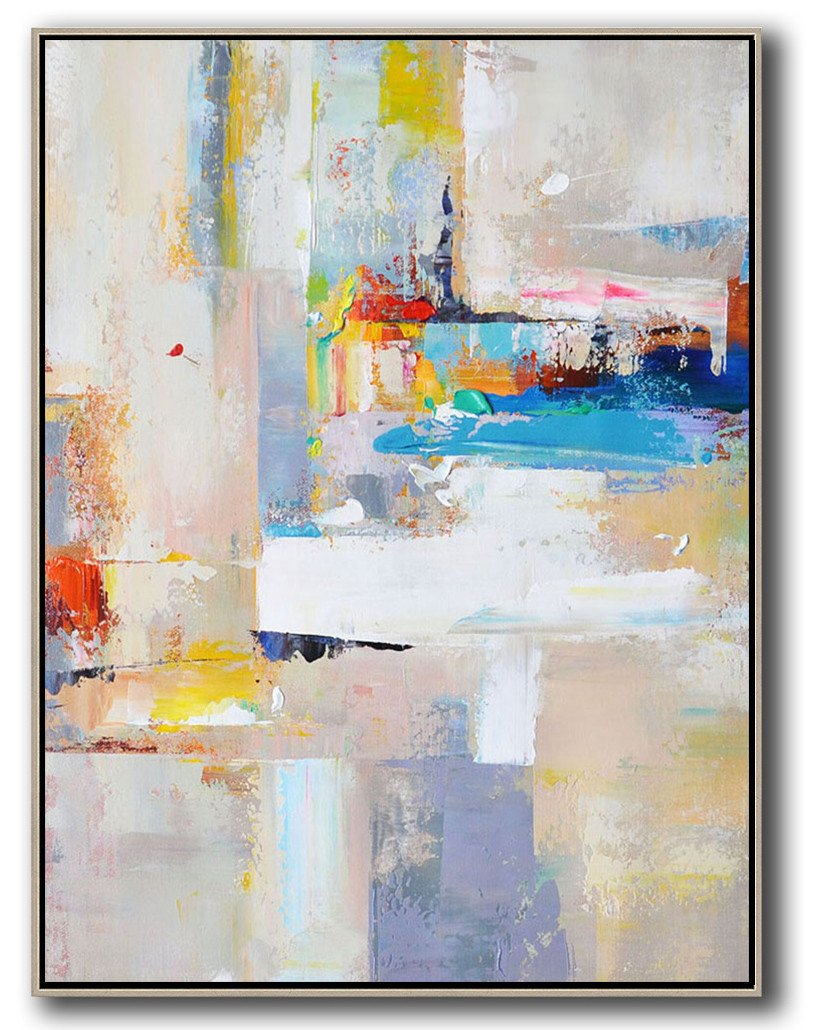 Extra Large Painting,Vertical Palette Knife Contemporary Art,Huge Abstract Canvas Art,Beige,White,Blue,Red,Yellow,Pink.etc