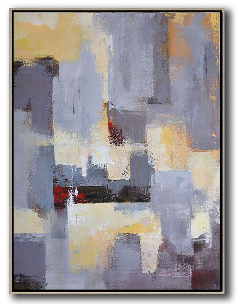 Extra Large Acrylic Painting On Canvas,Vertical Palette Knife Contemporary Art,Hand Painted Abstract Art,Grey,Yellow,Red.etc