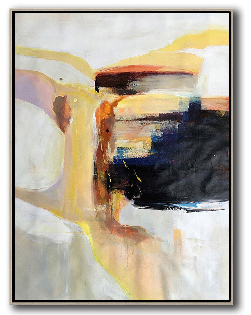 Original Abstract Painting Extra Large Canvas Art,Vertical Palette Knife Contemporary Art,Hand-Painted Canvas Art,Grey,White,Yellow,Black.etc