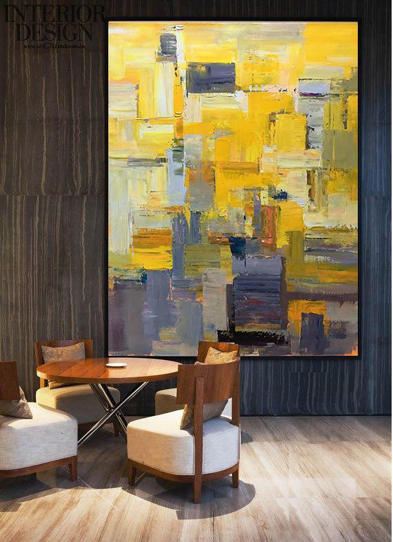 Extra Large Abstract Painting On Canvas,Vertical Palette Knife Contemporary Art,Modern Art Abstract Painting,Yellow,Brown,Taupe,Purple,Beige.etc