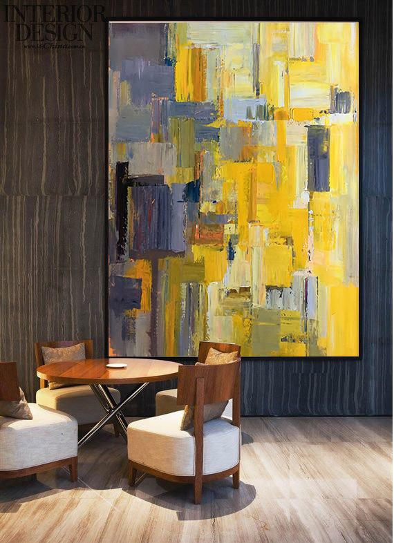 "Extra Large 72"" Acrylic Painting,Vertical Palette Knife Contemporary Art,Original Modern Art,Large Wall Art Handmade,Yellow,Purple,Beige,Brown,Taupe.etc"