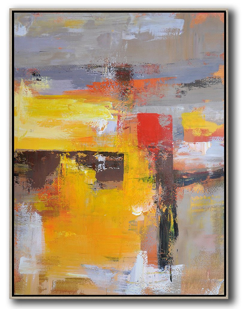 Large Abstract Painting Canvas Art,Vertical Palette Knife Contemporary Art,Acrylic Minimailist Painting,Yellow,Red,Purple,Grey.etc