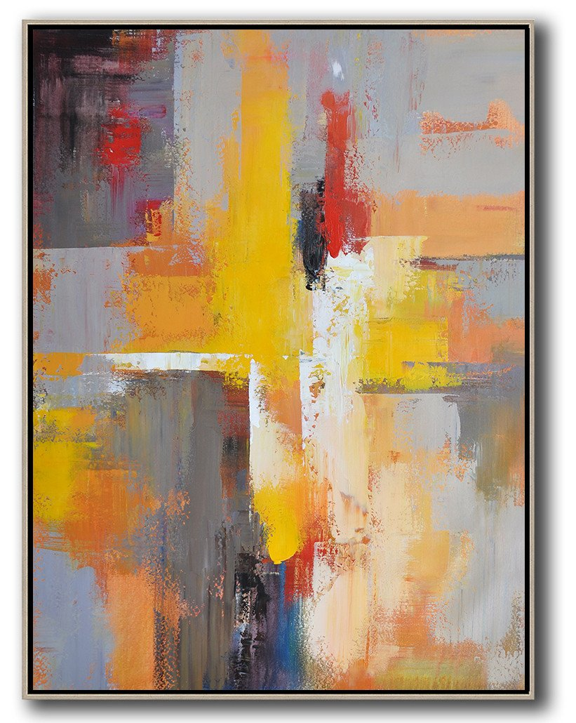 Handmade Large Contemporary Art,Vertical Palette Knife Contemporary Art,Hand Paint Large Art,Yellow,Red,White,Violet Ash.etc