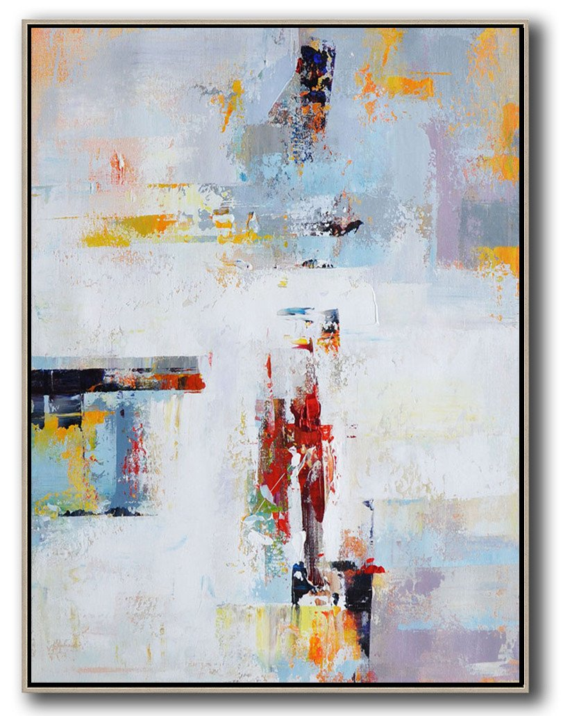 Extra Large Acrylic Painting On Canvas,Vertical Palette Knife Contemporary Art,Acrylic Painting Canvas Art,White,Grey,Red,Yellow.etc