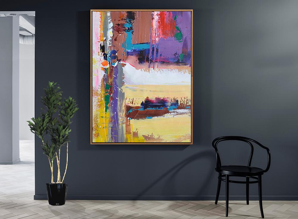 Abstract Painting Extra Large Canvas Art,Vertical Palette Knife Contemporary Art,Big Painting,Purle,Yellow,White,Brown,Red,Blue.etc