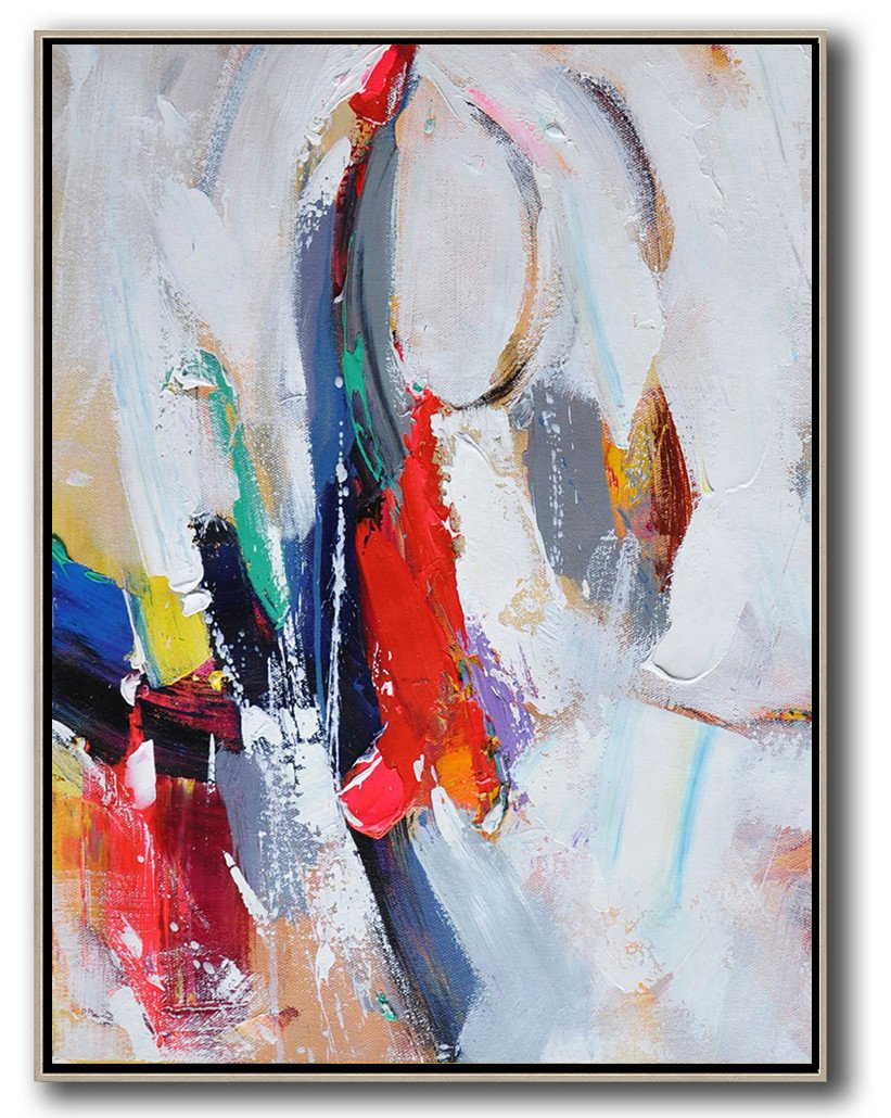 Large Abstract Art,Vertical Palette Knife Contemporary Art,Modern Paintings On Canvas,Red,White,Blue,Purple.etc