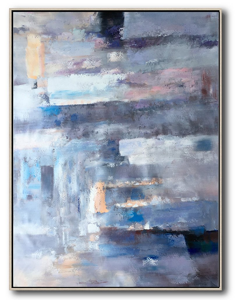 Large Modern Abstract Painting,Vertical Palette Knife Contemporary Art,Modern Wall Decor,Violet Ash,Grey,Blue,Pink.etc