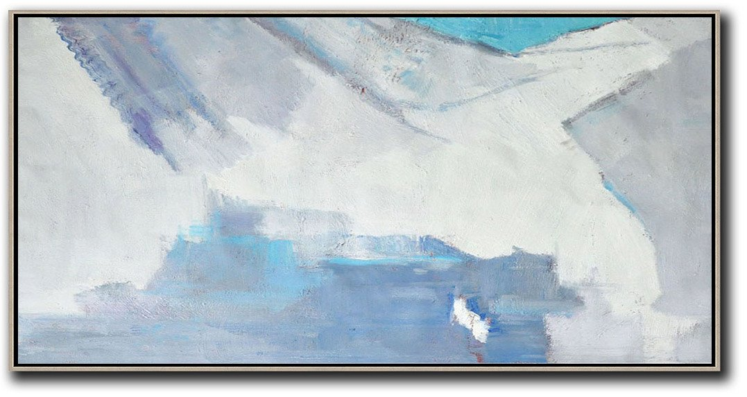 Large Abstract Art,Horizontal Palette Knife Contemporary Art,Acrylic Painting Large Wall Art,White,Grey,Blue.etc
