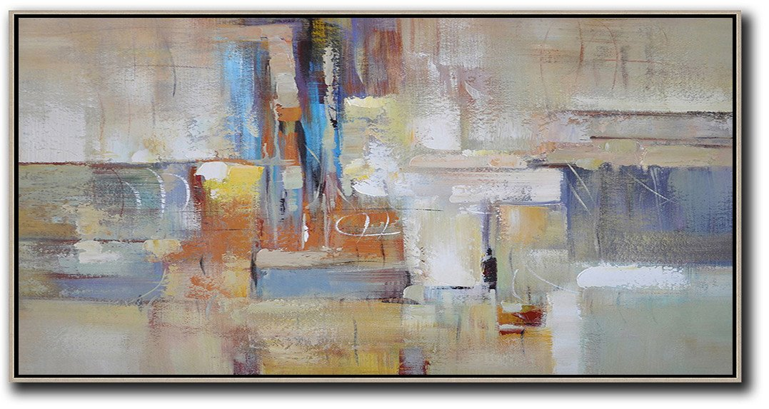 Large Wall Art Home Decor,Horizontal Palette Knife Contemporary Art,Living Room Wall Art,Earthy Yellow,Blue,White,Brown.etc