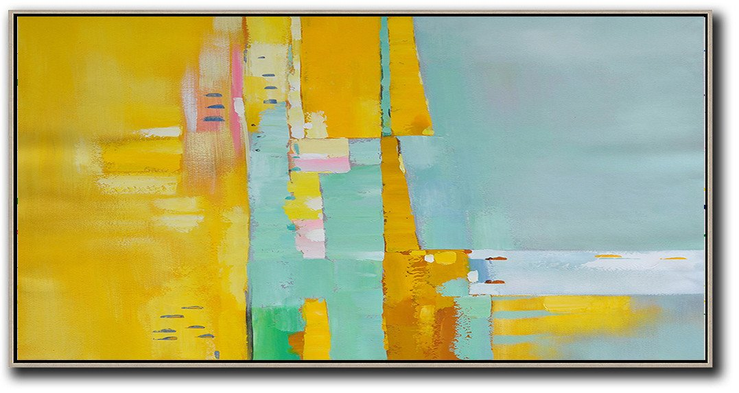 Hand Painted Aclylic Painting On Canvas,Horizontal Palette Knife Contemporary Art,Modern Art Abstract Painting,Yellow,Light Green,White,Pink.etc