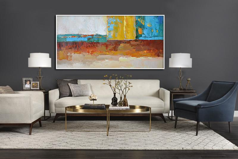 Acrylic On Canvas Abstract,Horizontal Palette Knife Contemporary Art,Custom Oil Painting,White,Yellow,Red,Blue,Brown.etc