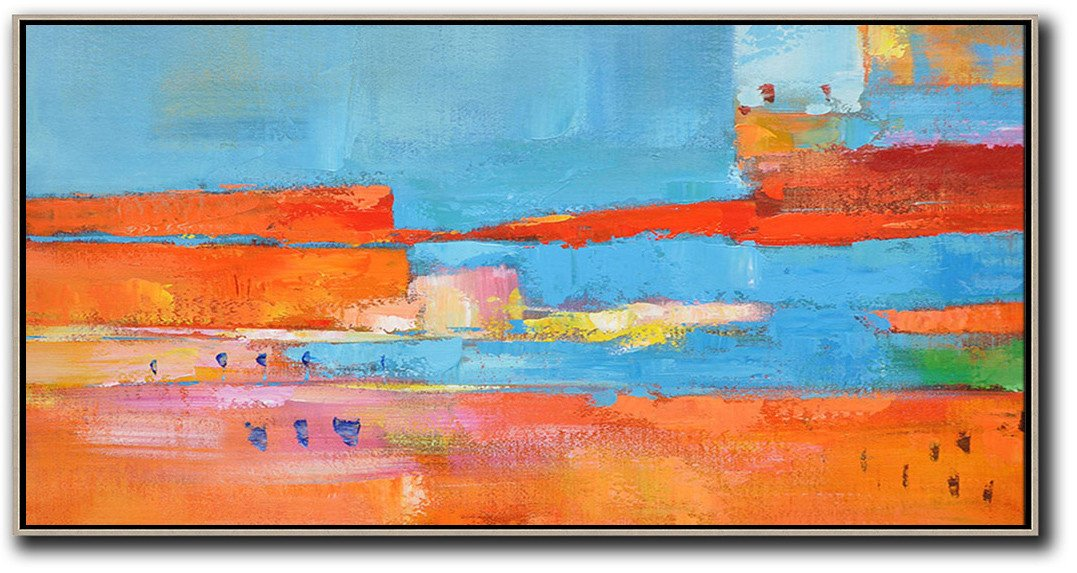 Contemporary Canvas Paintings,Horizontal Palette Knife Contemporary Art,Abstract Artwork Online,Orange,Sky Blue,,Red,Yellow.etc