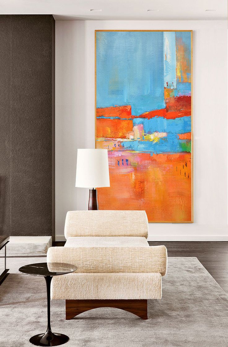 Abstract Artwork Online,Horizontal Palette Knife Contemporary Art,Abstract Painting For Home,Orange,Sky Blue,White,Red.etc