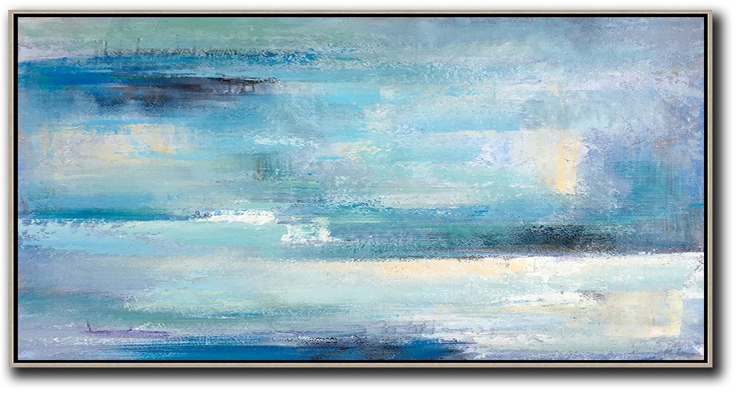 Contemporary Art Wall Decor,Horizontal Palette Knife Contemporary Art,Canvas Wall Art Home Decor,Lake Blue,Purple,White,Black.etc