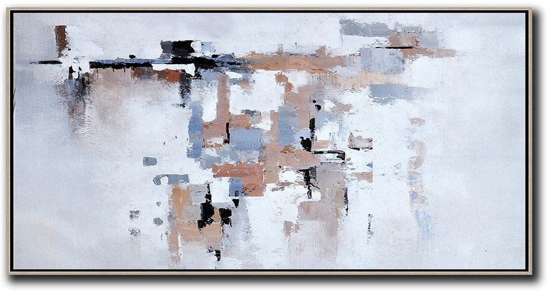 Huge Abstract Canvas Art,Horizontal Palette Knife Contemporary Art,Big Painting,White,Grey,Pink,Black,Blue.etc