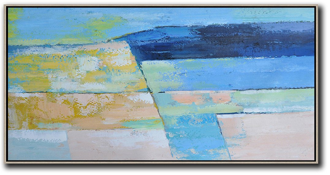 Xl Large Canvas Art,Horizontal Palette Knife Contemporary Art,Acrylic Painting Canvas Art,Dark Blue,Ske Blue,Yellow,Pink.etc