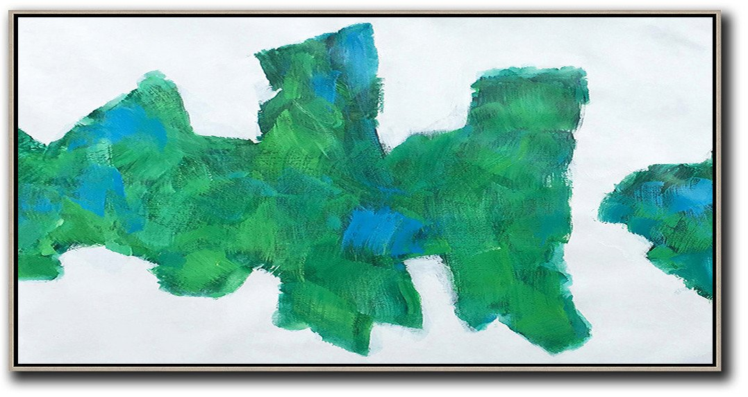 Living Room Wall Art,Horizontal Palette Knife Contemporary Art,Huge Abstract Canvas Art,White,Green,Blue.etc