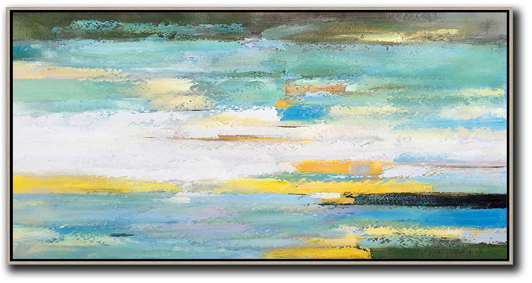 Extra Large Canvas Art,Handmade Acrylic Painting,Horizontal Palette Knife Contemporary Art,Hand Painted Acrylic Painting,White,Yellow,Blue,Light Green,Black.etc