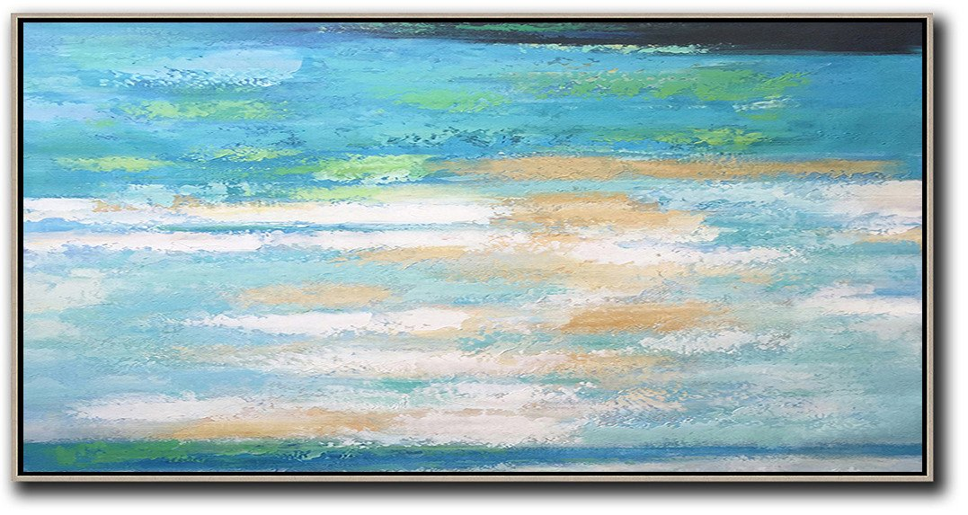 Hand Painted Acrylic Painting,Horizontal Palette Knife Contemporary Art,Hand-Painted Contemporary Art,Lake Blue,White,Yellow.etc