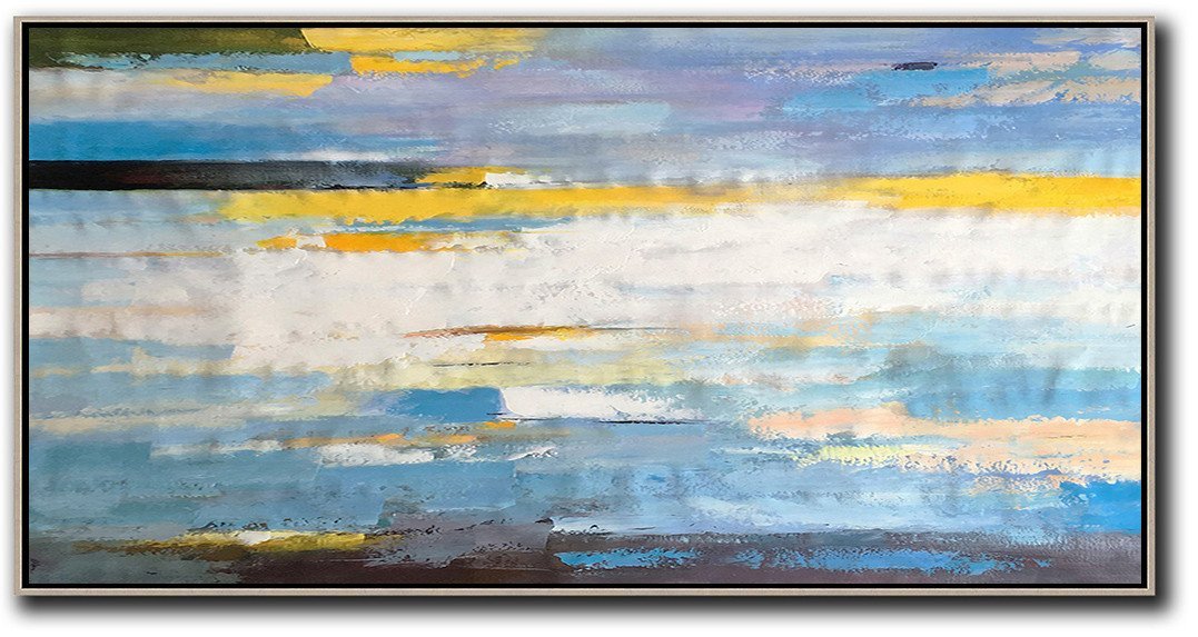 Hand-Painted Contemporary Art,Horizontal Palette Knife Contemporary Art,Abstract Art Decor,Contemporary Painting,White,Yellow,Blue,Black.etc