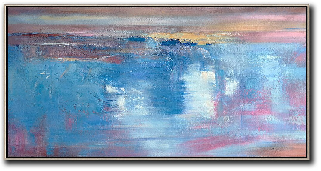 Abstract Art Decor,Contemporary Painting,Horizontal Palette Knife Contemporary Art,Modern Art Abstract Painting,Pink,Sky Blue,Blue,Grey,Brown.etc