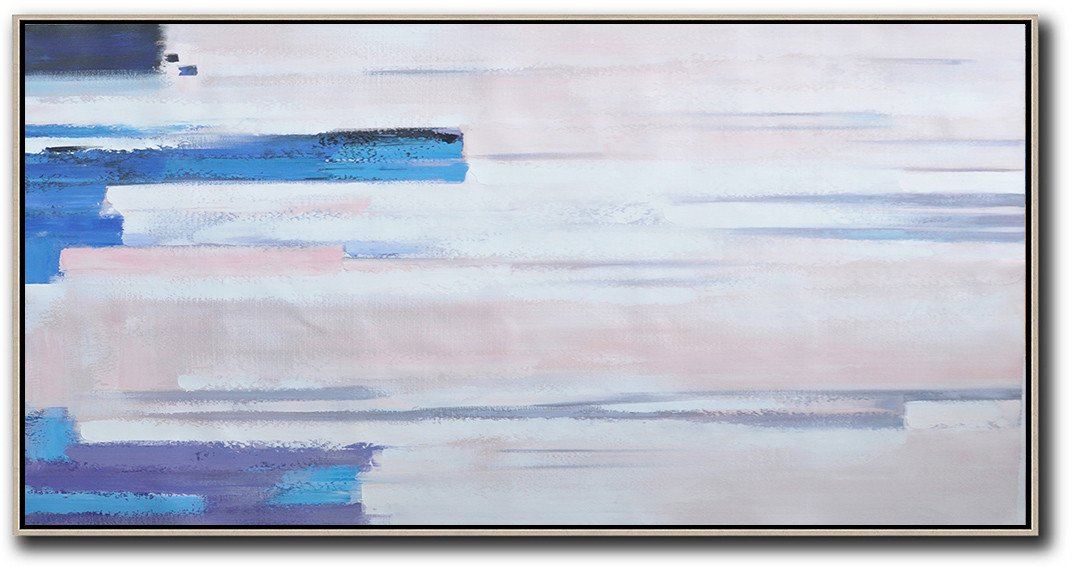 Abstract Art Decor Large Canvas Painting,Horizontal Palette Knife Contemporary Art,Abstract Art On Canvas, Modern Art,Pink,White,Blue, Purple.etc