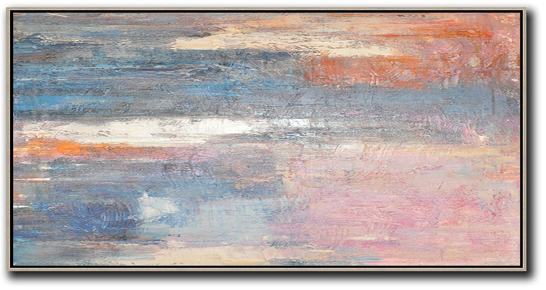 Modern Art Abstract Painting,Horizontal Palette Knife Contemporary Art,Original Modern Art,Large Wall Art Handmade,Pink,Blue,Grey,Earthy Yellow.etc