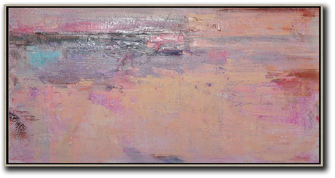Hand Paint Abstract Painting,Horizontal Palette Knife Contemporary Art,Large Contemporary Art Canvas Painting,Light Yellow,Purple,Pink,Brown.etc
