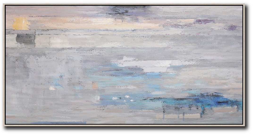 Huge Abstract Canvas Art,Horizontal Palette Knife Contemporary Art,Hand Painted Original Art,Grey,Blue,White.etc