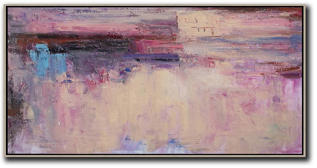 Large Contemporary Art Canvas Painting,Horizontal Palette Knife Contemporary Art,Original Art Acrylic Painting,Light Yellow,Purple,Pink,Brown.etc