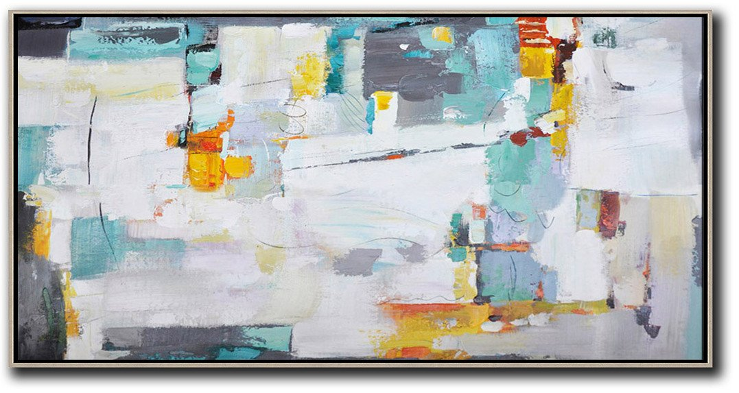 Hand Painted Canvas Art,Horizontal Palette Knife Contemporary Art,Contemporary Artwork,White,Grey,Yellow.etc