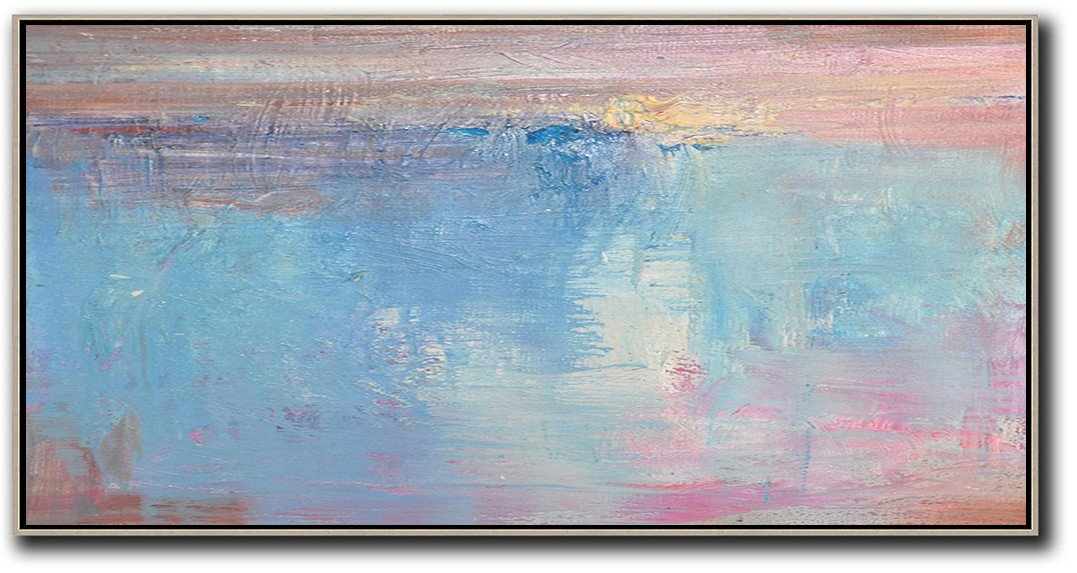 Hand Painted Original Art,Horizontal Palette Knife Contemporary Art,Abstract Art Decor Large Canvas Painting,Pink,Sky Blue,Purple.etc