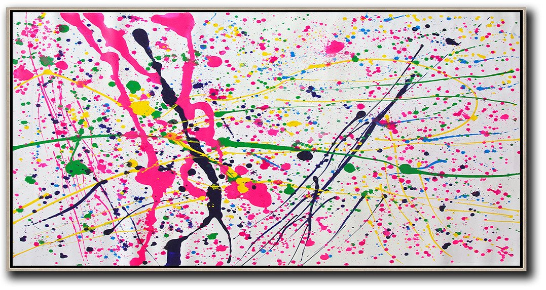 Hand-Painted Canvas Art,Horizontal Palette Knife Contemporary Art,Original Abstract Painting Canvas Art,White,Red,Yellow,Green.etc