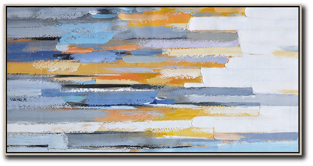 Acrylic Painting On Canvas,Horizontal Palette Knife Contemporary Art,Huge Abstract Canvas Art,White,Blue,Orange,Yellow.etc