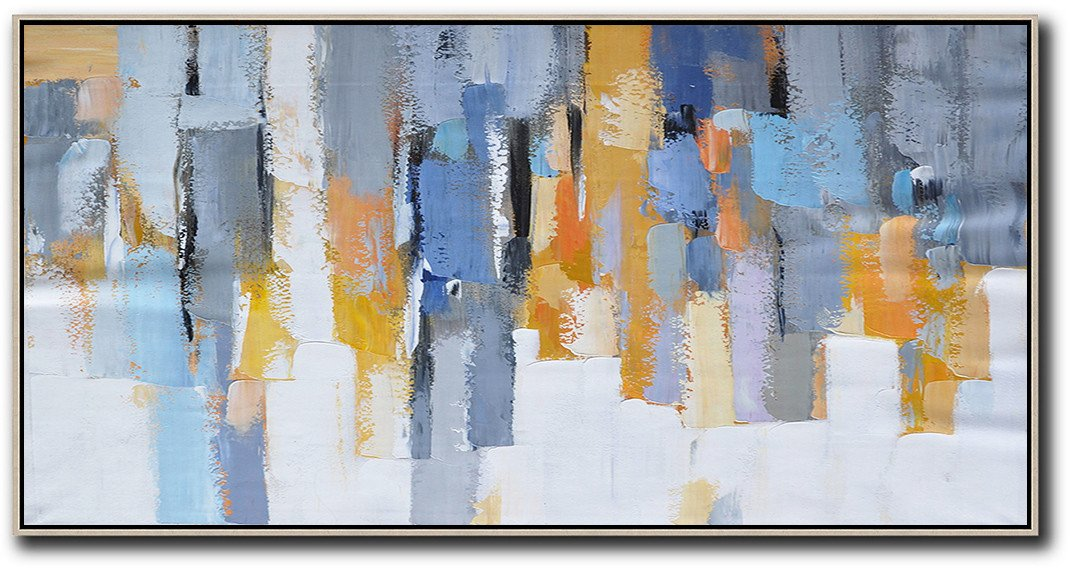 Huge Abstract Canvas Art,Horizontal Palette Knife Contemporary Art,Acrylic Painting Large Wall Art,White,Grey,Orange,Yellow,Blue.etc