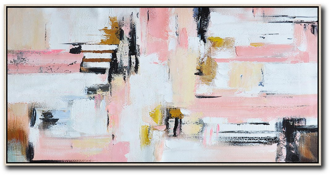Oversized Custom Canvas Art,Horizontal Palette Knife Contemporary Art,Large Oil Canvas Art,White,Pink,Light Yellow.etc
