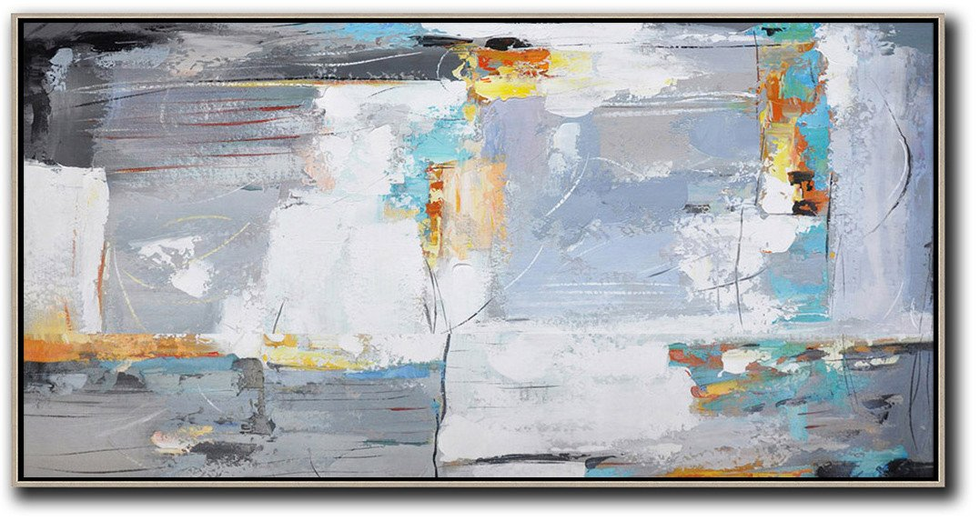 Large Contemporary Painting,Horizontal Palette Knife Contemporary Art,Acrylic Painting On Canvas,White,Grey,Yellow.etc