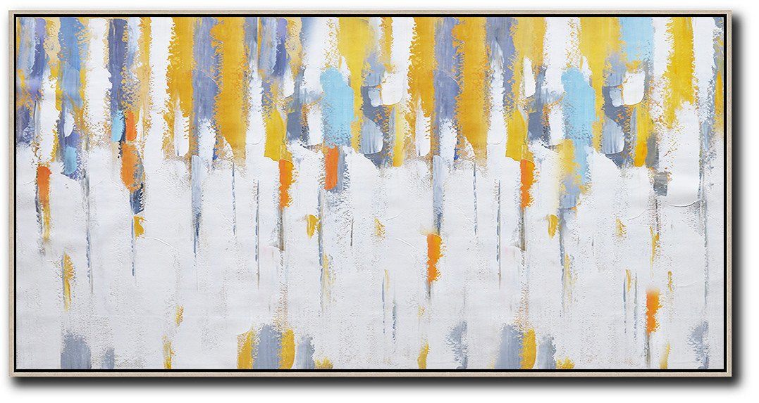 Modern Paintings On Canvas,Horizontal Palette Knife Contemporary Art,Extra Large Artwork,White,Grey,Yellow.etc