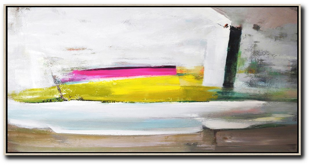 Huge Wall Decor,Horizontal Palette Knife Contemporary Art Panoramic Canvas Painting,Decorating A Big Living Room,White,Brown,Yellow,Pink.etc